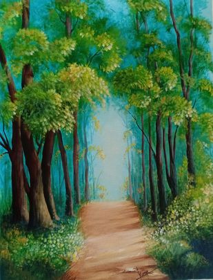 Forest road by Kumar Ranadive, Impressionism Painting, Acrylic on Canvas, Green color