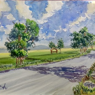 long away by K V Sanu, Impressionism Painting, Watercolor on Paper, Green color