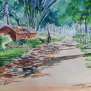 greens by K V Sanu, Impressionism Painting, Watercolor on Paper, Green color