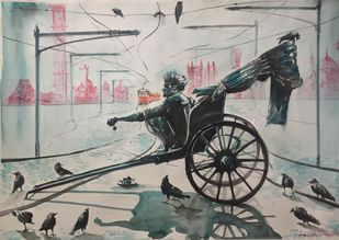 Calcutta Morning's by Avanish Trivedi, Impressionism Painting, Watercolor on Paper, Gray color