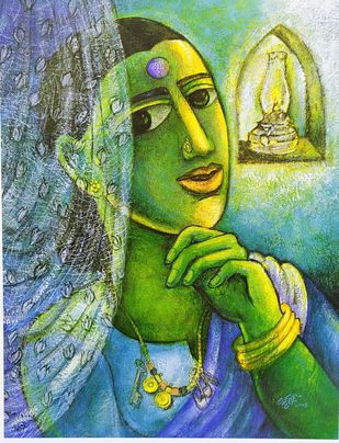 Untitled by Laxman Aelay, Expressionism Painting, Print on Paper, Green color
