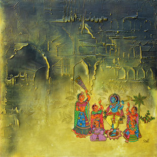 Krishna by Shwet Goel, Expressionism Painting, Mixed Media on Canvas, Green color