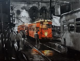 KOLKATA_CITY_SCAPE-2/20 by Arpan bhowmik, Impressionism Painting, Acrylic on Canvas, Gray color