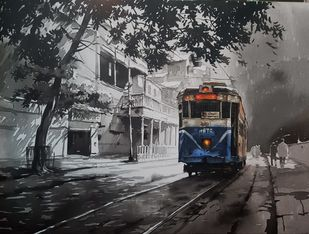 KOLKATA_CITY_SCAPE-3/20 by Arpan bhowmik, Expressionism Painting, Acrylic on Canvas, Gray color