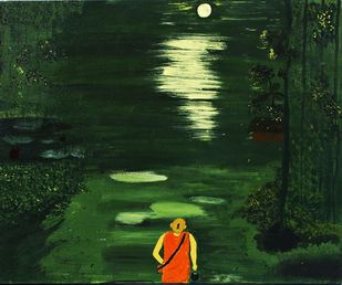 monk by PRITI HINGORANI, Expressionism Painting, Acrylic on Canvas, Green color