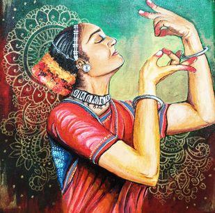 Nrityangana by Shreyashi Das, Decorative Painting, Acrylic on Canvas, Brown color