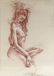 Nude by Sanatan Dinda, Expressionism Painting, Conte on Paper, Beige color