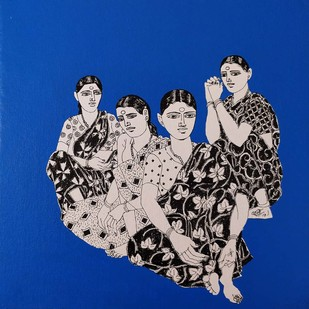 "Untitled, Acrylic on Canvas, Blue, Black, White Colours by Contemporary Indian Artist ""In Stock"" by Laxman Aelay, Expressionism Painting, Acrylic on Canvas, Blue color"