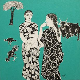 Untitled by Laxman Aelay, Expressionism Painting, Acrylic on Canvas, Cyan color