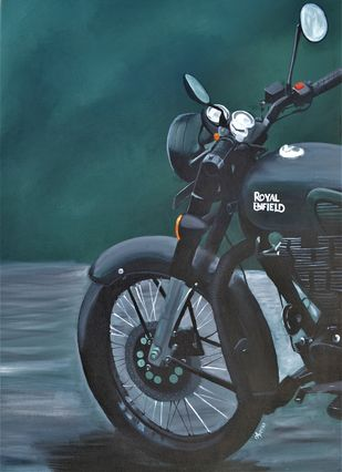 Royal Enfield by Ayesha Jilkar, Photorealism Painting, Acrylic on Canvas, Green color