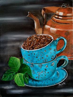 The Blue Coffee Cup Digital Print by Ayesha Jilkar,Expressionism