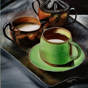 The Green Coffee Cup by Ayesha Jilkar, Expressionism Painting, Acrylic on Canvas, Green color