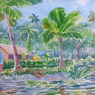 Water side by K V Sanu, Impressionism Painting, Watercolor on Paper, Green color