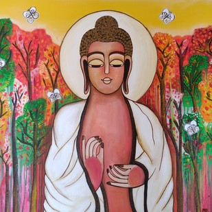 Buddha by Nandini, Expressionism Painting, Charcoal on Canvas, Brown color