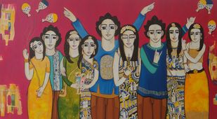 Party time by Nandini, Expressionism Painting, Acrylic on Canvas, Brown color