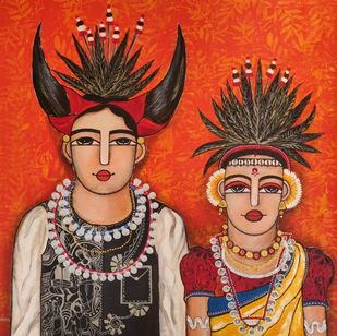 Chhattisgarih Dancer couple by Nandini, Expressionism Painting, Acrylic on Canvas, Brown color