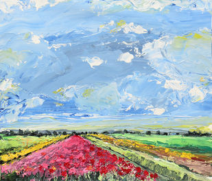 Floral Fields by Mitisha, Expressionism Painting, Acrylic on Canvas, Cyan color