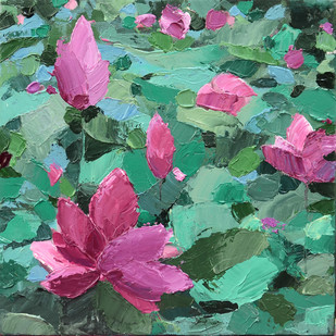 Lillies by Mitisha, Abstract Painting, Acrylic on Canvas, Green color