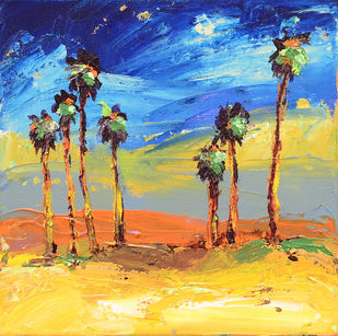 Palms and Sunset by Mitisha, Abstract Painting, Acrylic on Canvas, Beige color
