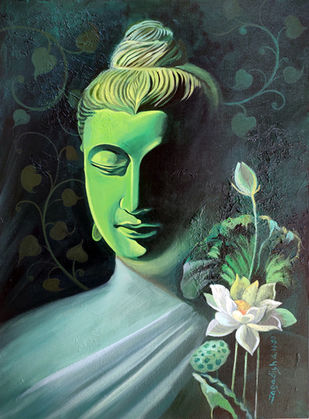 Enlightenment -4 by Jagadish Gadagin, Expressionism Painting, Acrylic on Canvas, Green color