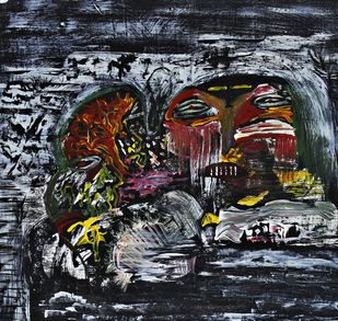 ghosts of past by PRITI HINGORANI, Expressionism Painting, Acrylic on Paper, Gray color