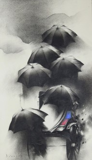 Monsoon in Calcutta II by Ajay De, Impressionism Painting, Charcoal on Paper, Gray color
