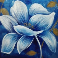 Aster by Shireen Malayya, Decorative Painting, Acrylic on Canvas, Blue color