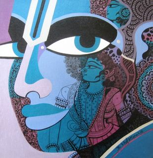 Lord Rama I by Bolgum Nagesh Goud, Traditional Painting, Acrylic & Ink on Canvas, Blue color