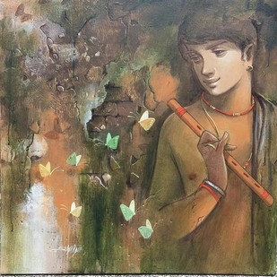 Hope by Subrata Das, Impressionism Painting, Acrylic on Canvas, Brown color