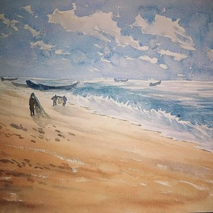 sea by K V Sanu, Impressionism Painting, Watercolor on Paper, Brown color