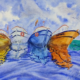 resting by K V Sanu, Impressionism Painting, Watercolor on Paper, Cyan color