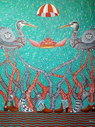 OPPORTUNITY by Arvind, Fantasy Painting, Acrylic & Ink on Canvas, Cyan color