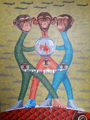 crazy guys by Arvind, Fantasy Painting, Acrylic & Ink on Canvas, Beige color