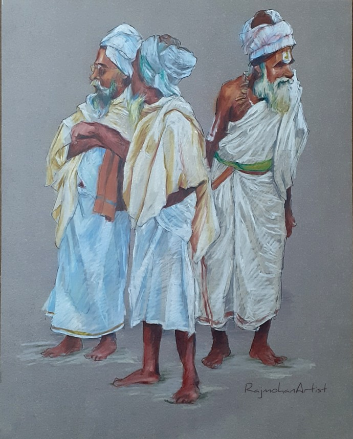 Group of sadhus by Rajmohan, Photorealism Drawing, Color Pencil on Paper, Brown color