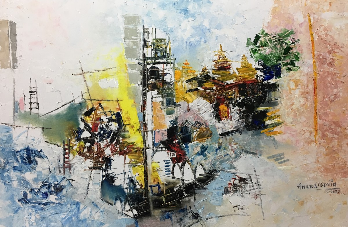 Cityscape (Bombay) 1-2020 by Anand Narain, Abstract Painting, Oil on Canvas, Beige color