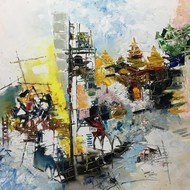 Cityscape %28bombay%29 1  2020 oil on canvas size 24x36 inches