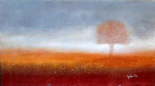Peace Tree by tajinder pal singh, Impressionism Painting, Acrylic on Canvas, Cyan color