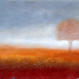 Peace Tree by tajinder pal singh, Impressionism Painting, Acrylic on Canvas, Cyan color
