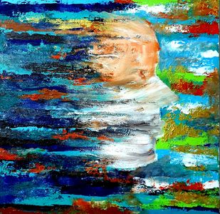 Breathe by Sushmita Lahiri, Abstract Painting, Acrylic on Canvas, Blue color
