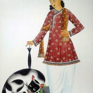 Babu and his Naughty Cat by Bhaskar Chitrakar, Folk Painting, Natural colours on paper, Gray color