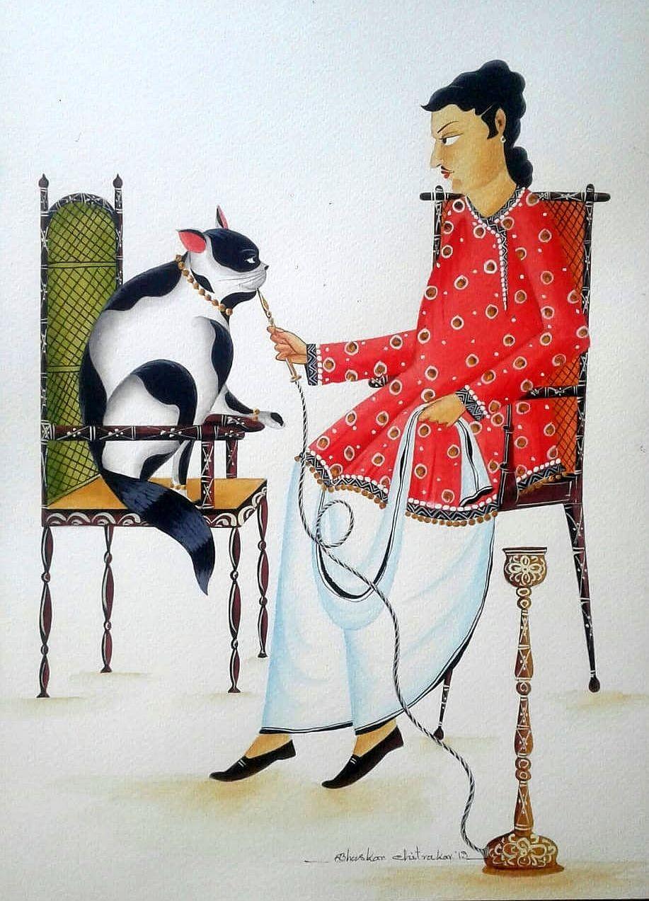Babu, Cat and Hookah by Bhaskar Chitrakar, Folk Painting, Natural colours on paper, Gray color