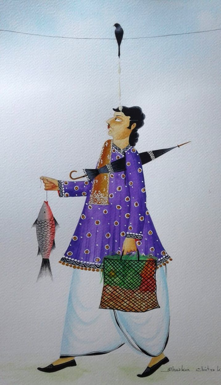 Babu getting crow 'blessings' by Bhaskar Chitrakar, Folk Painting, Natural colours on paper, Gray color
