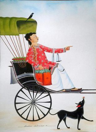 Babu in Rickshaw by Bhaskar Chitrakar, Folk Painting, Natural colours on paper, Gray color