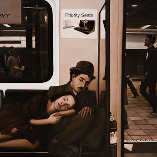 The passengers by Ravi Sachula, Pop Art Painting, Oil on Linen, Brown color
