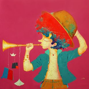 The Childhood 26 by shiv kumar soni, Expressionism Painting, Acrylic on Canvas, Pink color