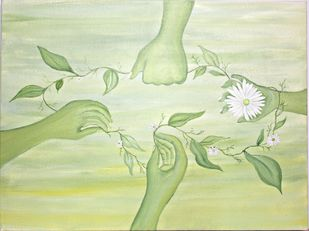Together... holding on by PRITI HINGORANI, Expressionism Painting, Acrylic on Canvas, Beige color
