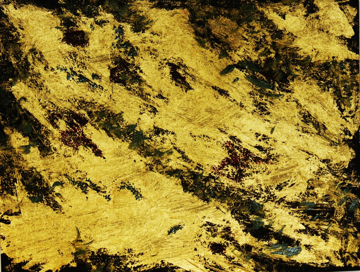 fields of gold by PRITI HINGORANI, Abstract Painting, Acrylic on Paper, Green color