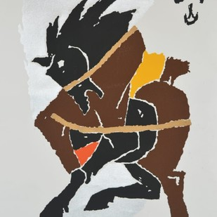 Horse by M F Husain, Expressionism Serigraph, Print on Canvas, Gray color