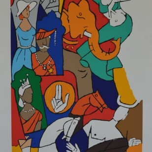 British raj by M F Husain, Expressionism Serigraph, Serigraph on Paper, Brown color