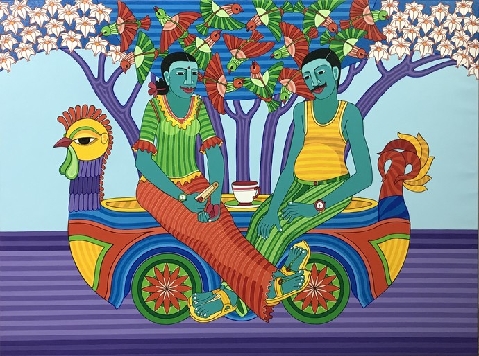 Tea time by Thota Laxminarayana, Expressionism Painting, Acrylic on Canvas, Green color